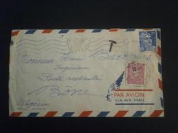 FRANCE GANDON 886 ENVELOPPE LETTRE COVER LETTER ENV PLI TAXE ALGER ALGERIE BONE ALGERIE BORDEAUX GIRONDE POSTE RESTANTE - Postmark Collection (Covers)