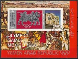 YAR 1968 Bf. 77B Yemen Olimpiadi Mexico Arte Messicana Sheet Imperf. CTO Mitologia Greca - Sommer 1968: Mexico