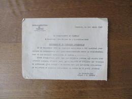 CAMBRAI LE 1er AVRIL 1942 LE SOUS-PREFET SUPPRESSION DU COURRIER AUTOMOBILE LES SERVICES POSTAUX ONT REPRIS LEUR ACTIVIT - Documents Historiques