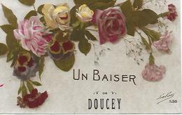 MARNE - DOUCEY - UN BAISER DE DOUCEY - POSTEE EN 1918 BON ETAT - Autres Communes