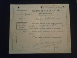 FRANCE ENTIER POSTAL SEMEUSE ENVELOPPE CARTE LETTRE COVER LETTER REPIQUAGE CHEMIN FER ETAT PARIS TRAIN FERROVIAIRE - Entiers Postaux