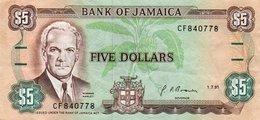 JAMAICA 5 DOLLARS 1991  P-70d.1  XF - Jamaica