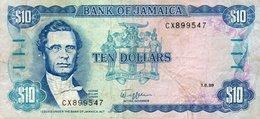 JAMAICA 10 DOLLARS 1989  P-71c  VF - Jamaica
