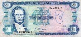 JAMAICA 10 DOLLARS 1992  P-71d.2  VF - Jamaica
