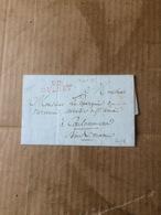 LETTRE DU 27  SEPT 1817 .CACHET ROUGE 22 GUERET .AU DOS CACHET PREFECTURE DU DEPT DE LA CREUSE - Postmark Collection (Covers)