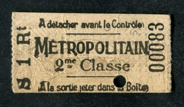"""Ticket De Métro Parisien Début XXe """"type Rayonnant -Tour Eiffel"""" 55x30 (après 1905) Paris 2ème Cl - Métropolitain - RATP - Métro"""