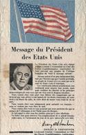 GUERRE 39/45 . TRACT .MESSAGE EISENHOWER .FRANCAIS ET ARBE POUR LALGERIE - Documenti