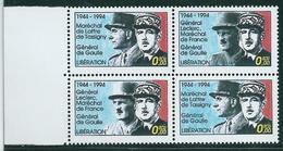 Vignettes Libération De Gaulle De Lattre De Tassigny Leclerc Bloc De 4 Dont Leclerc De 2 Types ** - De Gaulle (Général)