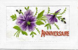 CARTE ANNIVERSAIRE BRODEE DE PENSEES 1922 TRES BON BON ETAT - Geburtstag