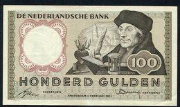 """:Netherlands  -  100 Gulden 2-2-1953 """"Erasmus"""" NO : 2 VU 048618 - [2] 1815-… : Regno Dei Paesi Bassi"""