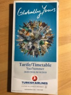 TURKISH AIRLINES Tarife/Timetable Yaz/Summer 28/03/2010-30/10/2010 - Horaires