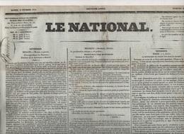 LE NATIONAL 08 02 1831 - DUC DE NEMOURS ELU ROI DES BELGES - BRUXELLES - ECCLOO - MONS - ESPAGNE - AVIGNON - - Journaux - Quotidiens
