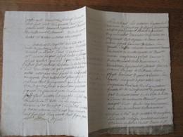 CAMBRAY LE 22 DECEMBRE 1758 COMPARURENT MESSIRE JEAN JACQUES CHARLES DEPOMEROL DEGRAMMONT CHEVALIER CAPITAINE AU REGIMEN - Manuscrits