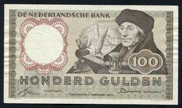""":Netherlands  -  100 Gulden 2-2-1953 """"Erasmus"""" NO : 3 CY 012693 - [2] 1815-… : Regno Dei Paesi Bassi"""