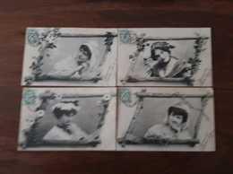 Lot De 4 Cartes Fantaisies   LES FILLES DE CHEZ NOUS - Femmes