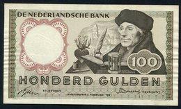 """:Netherlands  -  100 Gulden 2-2-1953 """"Erasmus"""" NO : 5 RX 069880 - [2] 1815-… : Regno Dei Paesi Bassi"""