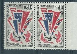 [33] Variété :  N° 1450 Victoire 1945 POSTFS Tenant à Normal ** - Varietà: 1960-69 Nuovi