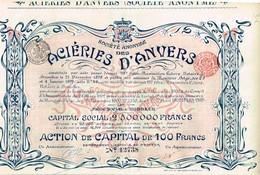 Titre Ancien - Société Anonyme Des Aciéries D'Anvers -Titre De 1902 - Déco - Industrie