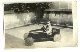 """6871 """" BAMBINO (PIERINO) SU MACCHINA A PEDALI """"16 MAGGIO 1934-FOTOCARTOLINA ORIGINALE - Persone Anonimi"""