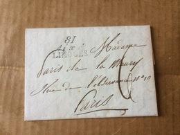 LETTRE DU 30 JUILLET 1821  CACHET   ROUGE A DATE DOUBLE CERCLE  JUILLET 30 1821 ET 81 AIXE LIMOGES - Postmark Collection (Covers)