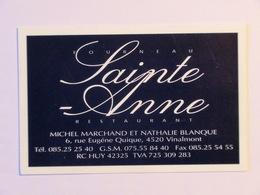 Carte De Visite Restaurant Fourneau Sainte-Anne Vinalmont Wanze - Cartes De Visite