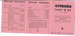 Tarif Citroen - Véhicules Industriels - Camionnettes - Advertising