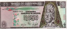 GUATEMALA 1/2 QUETZAL 1989 P-72a  UNC - Guatemala