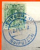 Cachet Bleu FUENTARRABIA (FONTARRABIE) GUIPUZCOA Sur CPA ** Espagne Espana Spain Marcophilie - Non Classés