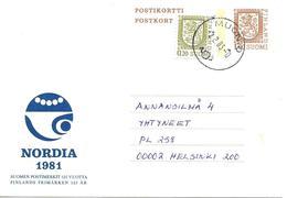 """Entier Postal """" Nordia 1981 """" Muonio Vers Helsinki 1983 - Enteros Postales"""