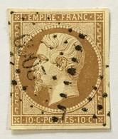 YT 13B (°) Obl 1853-60 Napoléon III, Losange Petits Chifrres 2069 Montbéliard 10c Bistre (côte 25 Euros) – 3bleu - 1853-1860 Napoléon III