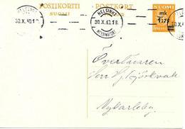 Entier Postal Surchargé Voyagé 1940 - Finnland