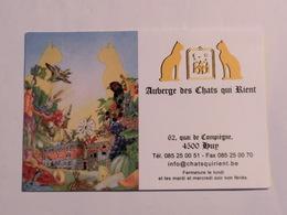 Carte De Visite Restaurant Auberge Des Chats Qui Rient Huy - Cartes De Visite
