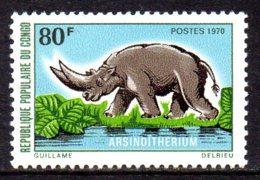 1970 Congo Préhistoire Arsinoitherieum  Rhinoceros - Congo - Brazzaville
