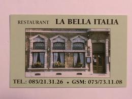 Carte De Visite Restaurant La Bella Italia Huy - Cartes De Visite