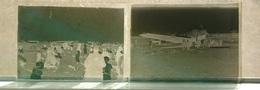 AVION D1090 BIPLAN MEETING AERIEN - LOT DE 2 - PLAQUE DE VERRE 9*6.5 CM - Plaques De Verre