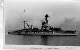 Marine Militaire Francaise  -  'Provence'  -  Cuirassé  -  Carte Postale Marius Bar - Guerra