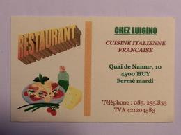 Carte De Visite Restaurant Chez Luigino Huy - Cartes De Visite