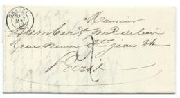 MARQUE POSTALE CHAUNY AISNE POUR PARIS / 1849 / TAXE - Marcophilie (Lettres)