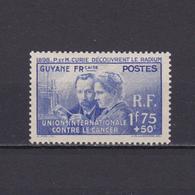 FRENCH GUIANA 1938, Sc# B3, Semi-Postal, Curie, MH - Ungebraucht