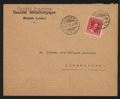NEW - Luxemburg Luxembourg  SOCIETE METALLURGIQUE   BISSEN  1916 Enveloppe  Ww1  1914 - 1918  1. Weltkrieg - Cartes Postales