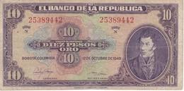 BILLETE DE COLOMBIA DE 10 PESOS DE ORO DEL AÑO 1949 (BANK NOTE) RARO - Colombia