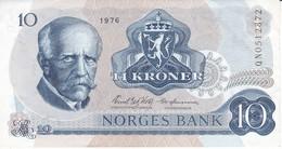 BILLETE DE NORUEGA DE 10 KRONER DEL AÑO 1976 EN CALIDAD EBC (XF)  (BANKNOTE) - Norway