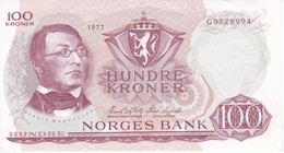 BILLETE DE NORUEGA DE 100 KRONER DEL AÑO 1977 EN CALIDAD EBC (XF)  (BANKNOTE) - Noruega