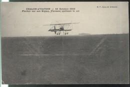 CPA Chalon Aviation 16 Octobre 1910 - Fischer Sur Son Biplan ( Farman )  Quittant Le Sol - Circulée - Chalon Sur Saone
