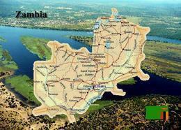Zambia Country Map New Postcard Sambia Landkarte AK - Zambia