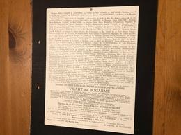 Visart De Bocarme Albert *1868 Bruxelles +1947 Brugge Uitbergen D'Oultremont De Furstenberg Delvaux De Fenffe De Beauffo - Obituary Notices