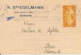 Lebanon Card Sent To Denmark Beyrouth 8-2-1938 Single Franked - Lebanon
