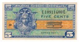 U.S.A. MPC, 5 Cents , Series 521. AUNC/UNC. - Military Payment Certificates (1946-1973)