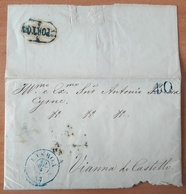 Portugal - COVER - 1853 - Cancel: Porto + Lisboa + 40 (destiny: Vianna Do Castello) - Portugal