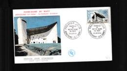 1435  F.D.C  Ronchamp 13 06 1964  Chapelle Notre Dame Du Haut   à Ronchamp  «Série Touristique»  1399 - 1960-1969